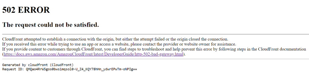 AWS: CloudFront 502 bad gateway error – How To Tutorials